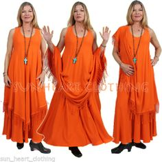 MOROCCAN COTTON TANGERINE MAGIC TANK FRINGE DRESS SML-MED-LARGE-XL-1X-2X
