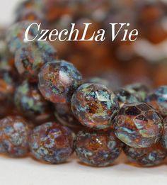 NEW Czech 8mm Firepolish Amber picasso 2070286 by CzechLaVie, $4.97