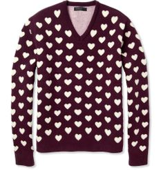 Burberry Prorsum Heart Cutout Wool and Cashmere-Blend Sweater
