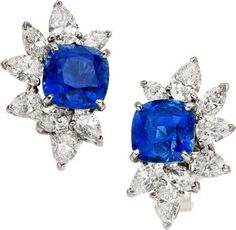 Sapphire, Diamond, Platinum, White Gold Earrings, Monture Harry Winston. Photo Heritage Auctions