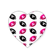 Bright Pink and Black Football Pattern Heart Stickers