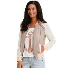 Body Central Chiffon Sleeve Baseball Jacket   Find.com  #top #shirt #Spring #Fashion