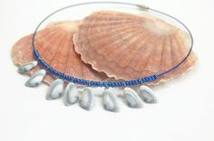 boho beach hippie style shell necklace blue seashell necklace boho hippie choker necklace hippie chic hippie choker beach boho modern hippie by LovesShellsBeads on Etsy