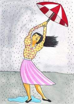 Girl with umbrella illustration water color illustration by liatib