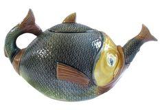 Antique Majolica Fish Teapot