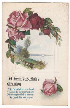 Vintage Postcard A Loving Birthday Greeting with Poem & Roses, Postmarked 1921, $3.50 on Etsy