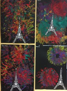 Fireworks for the new year Eiffel Tower Craft, France Craft, Paris Crafts, Baby Crafts, Infant Crafts, Daycare Crafts, World Crafts, Toddler Art, Thinking Day