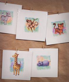 Safari Jungle Animal Nursery Art Print Set - 5. $50.00, via Etsy.