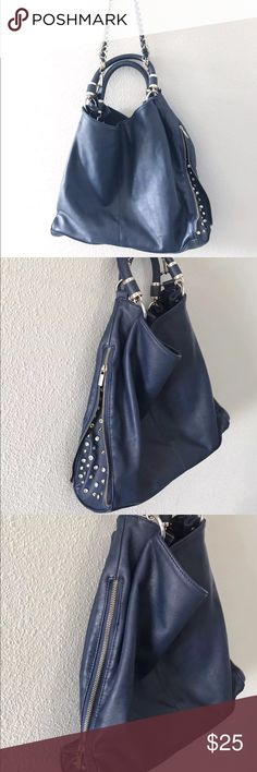 """Imoshion Embellished Purse Large chain bag blue Outstanding pre-owned rhinestone studded IMOSHION shoulder BAG  Great condition. One small mark. See photos  decorative chain and braided grip  Plain back of purse has zippered pocket  Interior features one zippered and two open compartments  Purse is a generous 14"""" tall by 15"""" wide  Rhinestone settings and handbag hardware are all gold-tone  faux leather   Sides zip up or down imoshion Bags Hobos"""