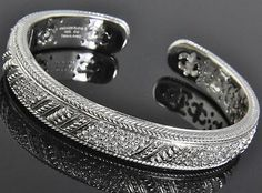 Judith Ripka Sterling Silver Diamonique Pave Hinged Bangle Cuff Bracelet 7 5