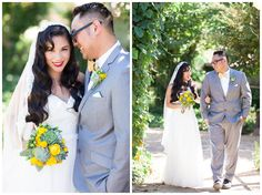 Bride and Groom Portrait Gray Suit Yellow Roses Succulents | Taber Ranch Wedding - Capay Wedding Photographer - Ricky&Anjelica - Chico California Wedding Photography and Videography by Chico Photographer Videographer Couple TréCreative