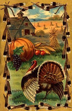 Bountiful Farm and Turkey Vintage Thanksgiving Postcard