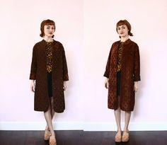 Brown Diamond Pattern Reversible Coat  Velvet Dress by xYATESx