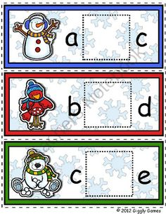 Frosty and Friends Missing Letter Envelope Center from Giggly Games on TeachersNotebook.com -  (13 pages)  - Giggly Games Frosty and Friends Missing Letter Envelope Center