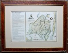 Simply elegant - Burl wood frame, lined in antique gold surrounds this print of a hand painted tourist map with points of interest.