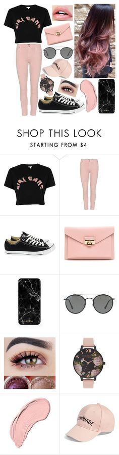 """GG. Girl Gang"" by nirataa ❤ liked on Polyvore featuring River Island, Citizens of Humanity, Converse, Ray-Ban, Olivia Burton, NYX and Amici Accessories"