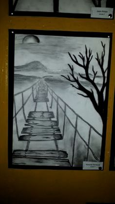 Kunst Grade 7 -charcoal and pencil one point perspective drawing Decorating a Game Room The kids hav Dark Art Drawings, Pencil Art Drawings, Easy Drawings, Easy Nature Drawings, Pencil Drawing Tutorials, Landscape Pencil Drawings, Simple Landscape Drawing, Perspective Art, 1 Point Perspective Drawing