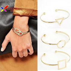 2015 punk fashion women copper metal gold silver black cutout circle square triangle geo cuff bangle bracelet bijoux pulseiras-in Bangles from Jewelry on Aliexpress.com | Alibaba Group