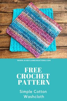 Crochet Washcloth/Dishcloth This free crochet pattern for a simple cotton washcloth will quickly become one of your favorites. Crochet with cotton yarn. Crochet With Cotton Yarn, Crochet Yarn, Dishcloth Crochet, Crochet Scrubbies, Crochet Socks, Crochet Gratis, Free Crochet, Easy Crochet Projects, Crochet Ideas