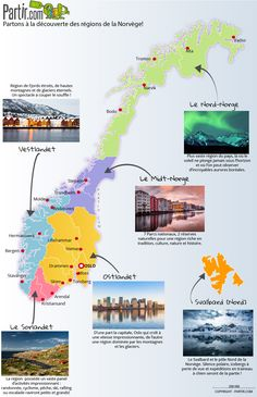 Map of the regions NORWAY Source by mariannedejaege Sweden Travel, Norway Travel, Tromso, Lofoten, Travel Maps, Travel And Tourism, Europe Honeymoon Destinations, Voyage Suede, Europe Wallpaper