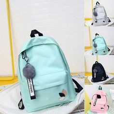 Women PU Leather Shoulder Bags Pure Messenger Bags Crossbody Satchel Purse Tote Women's BackPack Candy Student School Bag For Teenagers Girls Hanger Fur Ball Cute Backpacks For School, Stylish Backpacks, Girl Backpacks, Awesome Backpacks, Leather Backpacks, Leather Bags, Bags For Teens, School Bags For Girls, Girls Bags