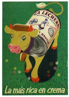 La Lachera vintage ad art poster for Nestle cream Vintage Labels, Vintage Ads, Vintage Images, Vintage Designs, Vintage Advertising Posters, Vintage Advertisements, Vintage Posters, Advertising Slogans, Old Posters