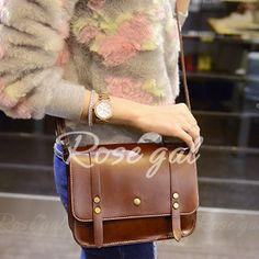 Trendy Rivets and Belt Design Women's Crossbody Bag