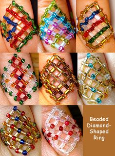 Seed bead jewelry Beaded Diamond-Shaped Ring - straight forward netting ~ Seed Bead Tutorials Discovred by : Linda Linebaugh Diy Beaded Rings, Diy Jewelry Rings, Bead Jewellery, Beaded Jewelry, Beaded Bracelets, Jewelry Patterns, Beading Patterns, Bead Crafts, Jewelry Crafts