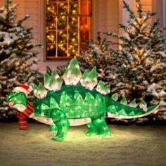 WANT!! Animated Tinsel Dinosaur Christmas Decoration