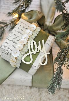 Gift Wrapping ideas ~ embellish with buttons, ribbon, etc. from dear lillie: Our Tree, Joy and Reindeer Cutouts Creative Gift Wrapping, Wrapping Ideas, Creative Gifts, Wrapping Presents, Christmas Gift Wrapping, Christmas Crafts, Christmas Decorations, Christmas Presents, Pretty Packaging