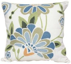 Manor Luxe Crewel Embroidered Floral Decorative Pillow Feather/Down Filled, by #NotApplicable