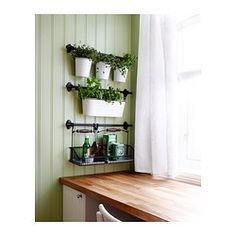 IKEA - FINTORP, Condiment stand, Helps free up space on your countertop while keeping oil and seasonings close at hand.Can be hung on FINTORP rail using FINTORP hooks, or kept freestanding on the table or windowsill. Kitchen Wall Storage, Home Office Storage, Kitchen Storage Solutions, Ikea Storage, Storage Baskets, Storage Ideas, Bathroom Shelves, Bathroom Storage, Food Storage