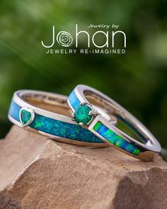 Jewelry by Johan's wedding rings are handcrafted with exotic materials like synthetic opal and birthstones. #JewelrybyJohan Birthstones, Opal, Exotic, Wedding Rings, Jewelry, Jewellery Making, Engagement Rings, Wedding Ring, Jewelery