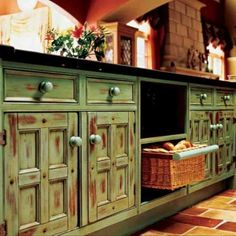 Love the color, and the rustic style. Kitchen:Wooden Pantry Cabinet Green Shabby Green Wooden Kitchen Cabinet With Storage And Drawers Plus Wooden Pantry Cabinet Warm Green Kitchen Cabinets Giving Advance Look both in Modern and Traditional Kitchen Themes Classic Kitchen Cabinets, Wooden Kitchen Cabinets, Kitchen Paint, Kitchen Furniture, Cool Furniture, Furniture Ideas, Painted Furniture, Rta Cabinets, Painted Dressers