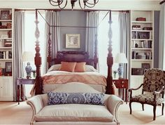 Amelia Handegan, canopy bed and books, settee