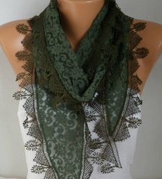 Clothing Gift Military Green Lace Scarf   Shawl Scarf Women