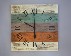 Large Wall Clock, Beach House Style, Reclaimed Pallet Wood CUSTOM paint color or finish. from on Etsy. Saved to Things I want as gifts. Rustic Paint Colors, Make A Clock, Wood Pallets, Pallet Wood, Pallet Clock, Home Improvement Show, Rustic Wood Walls, Reclaimed Wood Projects, Custom Paint