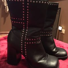 """Leather studded boots Candies boots gently used.  Some scratches on heel.   4"""" heel.  11"""" from top to bottom Candie's Shoes Heeled Boots"""