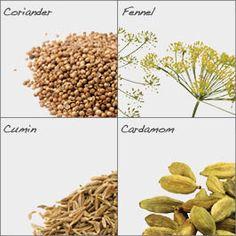 Organic Vata Churna Calming Spice Mix ingredients include Organic Coriander, Organic Fennel, Organic Cumin & Organic Cardamom.