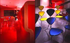 We are a global and creative design studio in Geneva, Tokyo and Beijing. Red Chairs, High Chairs, Cafe Tables, Cafe Chairs, Red Floor, Interior Architecture, Interior Design, High Stool, Tokyo Japan