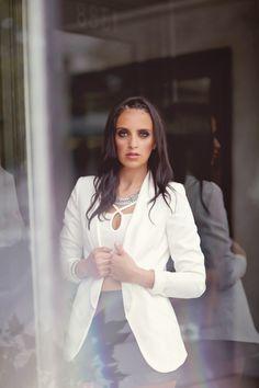 black & faux leather asymmetrical skort // zara ankle strap sandals // white h&m tuxedo blazer // white crop top // outfit inspiration