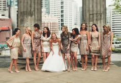 My favorite bridesmaids look of all time! I love how cohesive they look even though they're all different plus they can totally wear those dresses again.