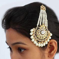 Gold Plated AD CZ Pearl Ethnic Indian Head Hair Jewelry Bollywood Khopa Jhapta #DesaiJewellers #HairChain