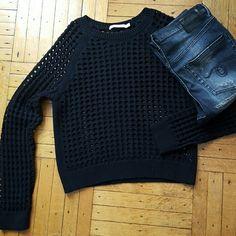 "Bailey 44 ""Naroibi Sweater, NWOT Black medium chunky open knit sweater  60%cotton 30%nylon 10% wool Bailey 44 Sweaters Crew & Scoop Necks"