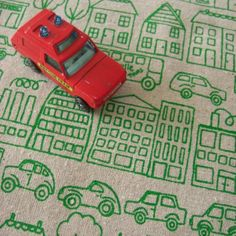 town  screenprinted fabric by summersville on Etsy, £5.50