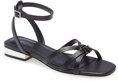 Brinkley Ankle Strap Sandal Ankle Strap Sandals, Black Sandals, Michael Kors Heels, Block Heels, Shopping, Shoes, Metallic, Clothes, Products