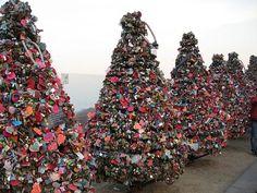 Awesome Love Locks Locations: N Seoul Tower, Seoul (source: wiki) Sanctioned versus weight of locks on bridge.