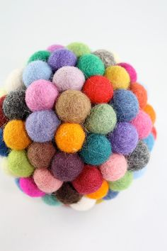 Multicolor happy felt ball Large size  Eco Friendly by HoneyCanada on Etsy.  I just love felt balls!