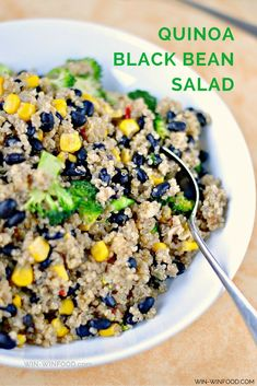 Quinoa Black Bean Salad   WIN-WINFOOD.com This quinoa black bean salad is a super healthy, protein & fiber packed lunch or dinner that comes together in just 30 minutes. #vegan #healthy #glutenfree