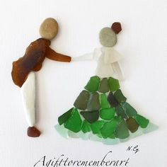 """First dance"" #sea glass artwork. #agifttorememberart #pebbleart #seaglassart #art #instaphoto #instagood #instadaily #instaart #handmade #australia #adelaide #frame #seaglass #beachdecor #gift #interiordesign #roomdecor #love #dance #etsy #makersgonnamake #madebyme #photooftheday"